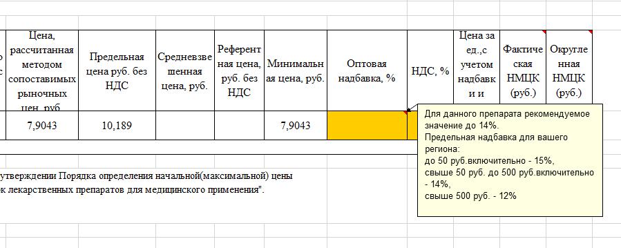 Как прибавить оптовую надбавку при обосновании НМЦК?